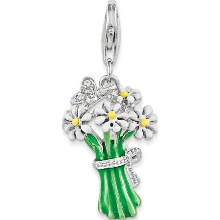 Leslies Fine Jewelry Designer 925 Sterling Silver Enameled Bouquet of Daisies w/Lobster Clasp (15x22mm) Pendant Gift