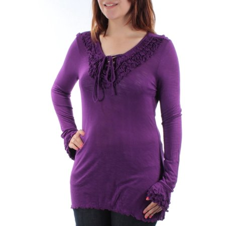 50l Suit - INC Womens Purple Tie 0 Long Sleeve V Neck Tunic Top  Size: S