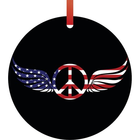 Flag US Patriotic American Angel Wings Peace Symbol Round Shaped Flat Semigloss Aluminum Christmas Ornament Tree Decoration (Patriotic Christmas Ornaments)