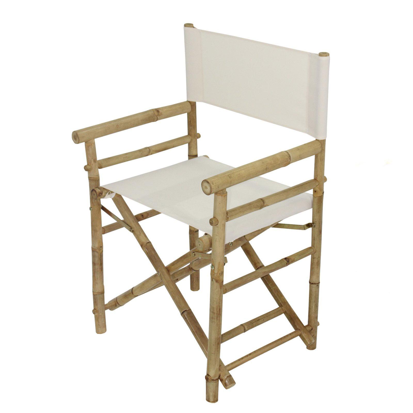 Statra Bamboo Indoor Outdoor Canvas Director Chair - Set of 2