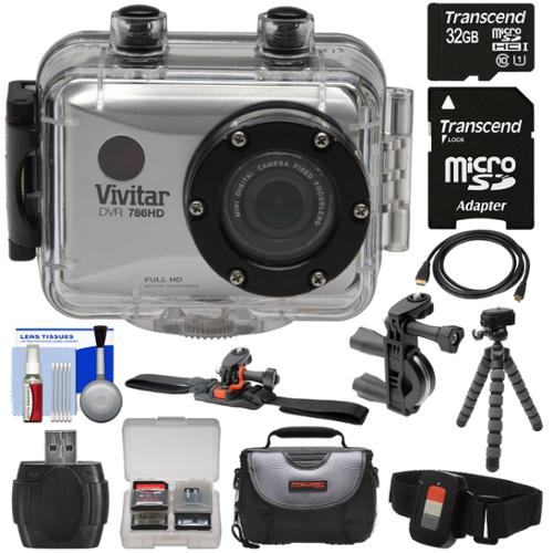 Vivitar DVR786HD 1080p HD Waterproof Action Video Camera Camcorder (Silver) with Remote, Vented Helmet & Bike Mounts + 32GB Card + Case + Tripod Kit