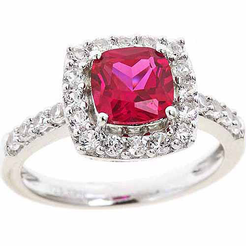 Created Ruby and Created White Sapphire Sterling Silver Ring, Size 7