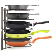 Heavy Duty Kitchen Cabinet Cookware Organizer Rack for Pans, Pots, Lids and Cast Iron, Bronze
