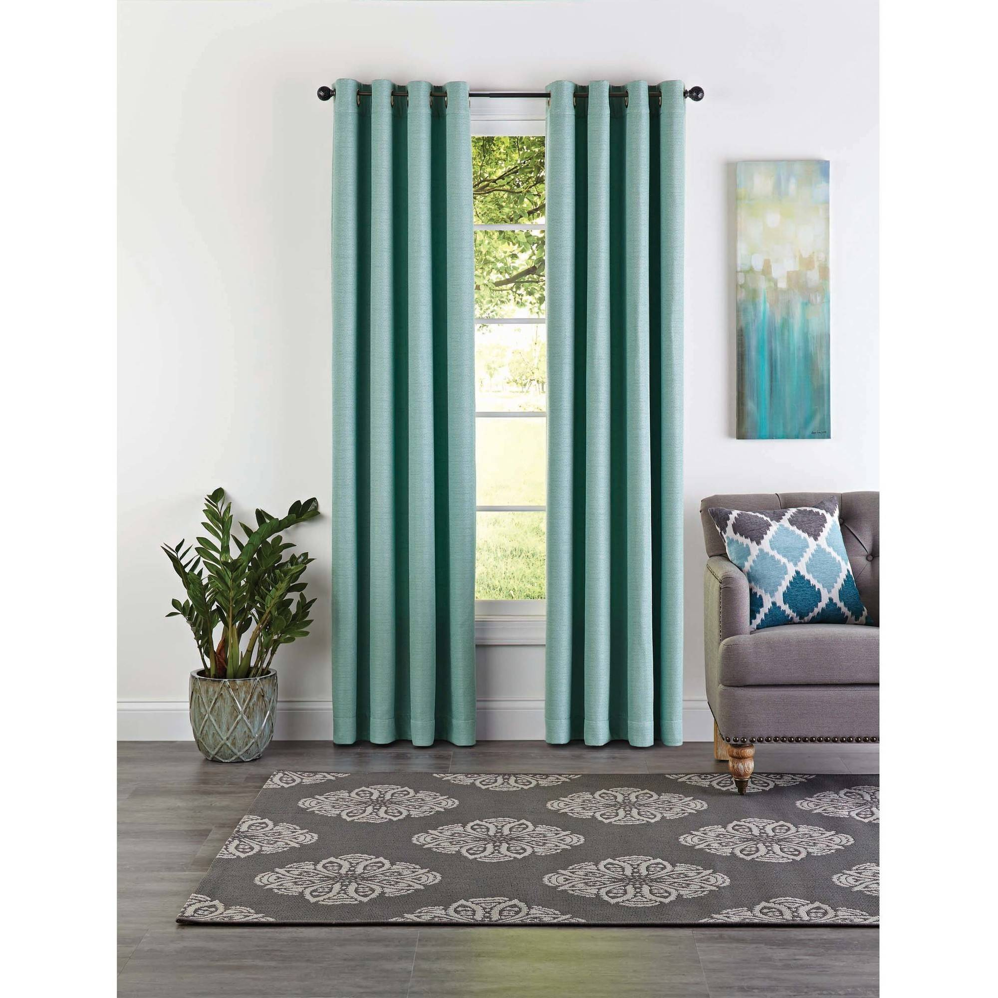 Better Homes and Gardens Basketweave Curtain Panel, Aqua