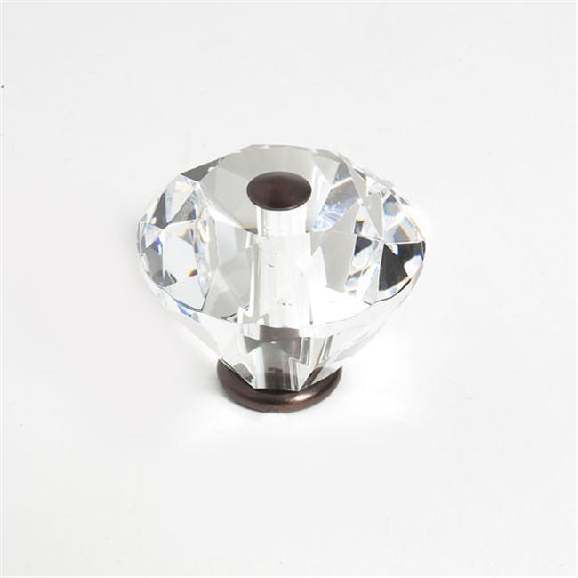 JVJHardware 36712 Pure Elegance 40mm - 1. 56 inch - Diamond Cut 31 Percent Leaded Crystal Knob - Old World Bronze