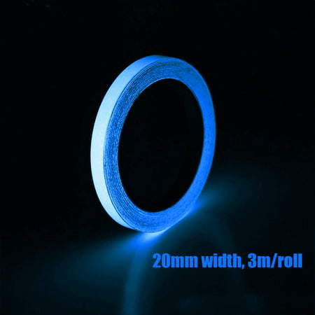 3m/Roll 20mm Self-adhesive Luminous Tape Glow in the Dark High Bright DIY Handmade Safety Warning Signs Tape Home Stage - Tube Blue Glow