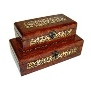 Cheung's FP-2459A-2 Wooden Lined Decorative Storage Box (Set of 2)