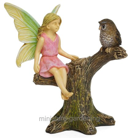 Marshall Home and Garden Owl Roost with Fairy for Miniature Garden, Fairy - Miniature Owl