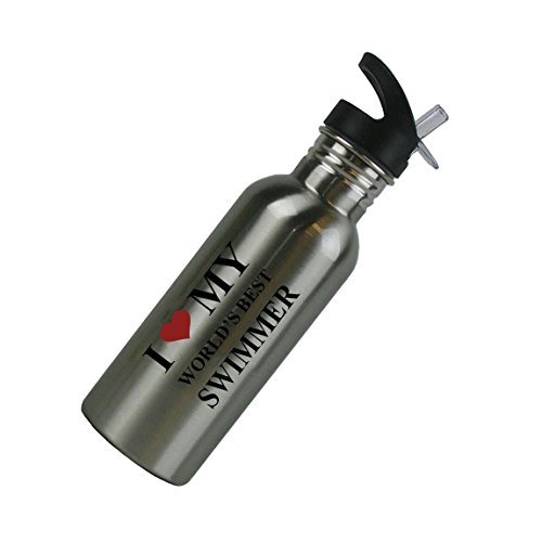 I Love My World's Best Swimmer Stainless Steel Silver 20 Oz (600mL) Water Bottle with Sport Top, Straw