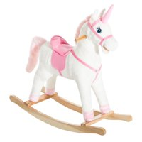 Qaba Kids Metal Plush Ride-On Unicorn Rocking Horse Chair Toy With Realistic Sounds, Pink