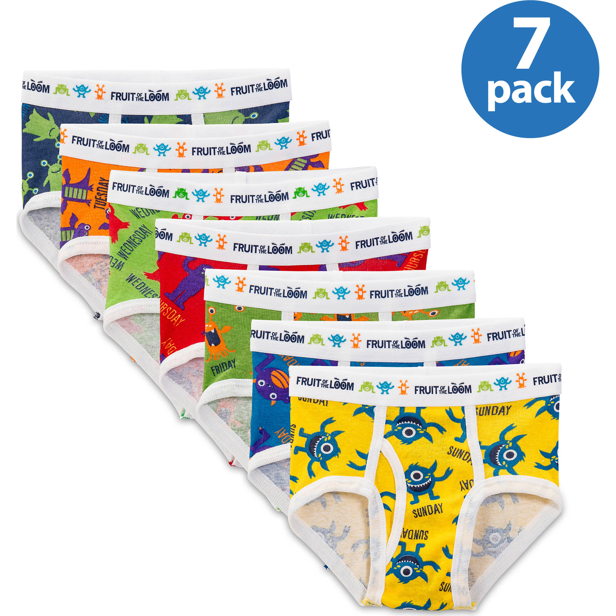 Fruit of the Loom Toddler Boy Days of the Week Briefs, 7-pack