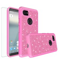 Google Pixel 2 XL Case, Pixel 2 XL Glitter Bling Heavy Duty Shock Proof Hybrid Case with [HD Screen Protector] Dual Layer Protective Phone Case Cover for Google Pixel 2 XL - Rose Gold