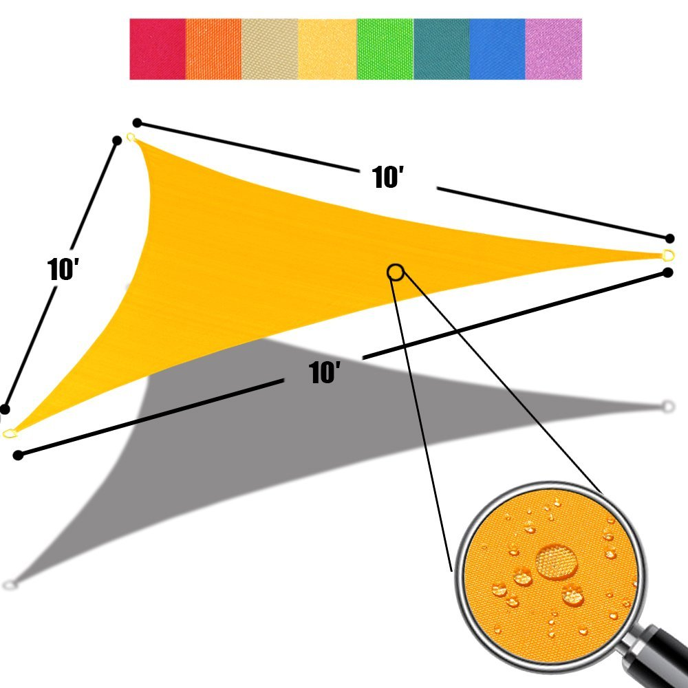 Alion Home Triangle Mango Yellow Waterproof Woven Sun Shade Sail For Patio Pool Deck Porch Garden in Vibrant Colors 10'x 10'x 10'