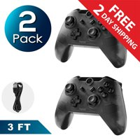 Insten 2-Pack Wireless Pro Controller For Nintendo Switch / Switch Lite with Micro USB Charge Cable - Smoke Black