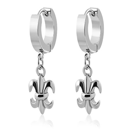 Stainless Steel Fleur De Lis Flower Drop Hoop Huggie Earrings pair ()
