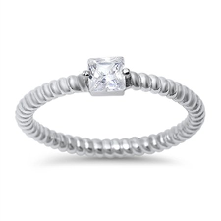White CZ Polished Rope Square Solitaire Ring ( Sizes 5 6 7 8 9 10 ) 925 Sterling Silver Band Rings by Sac Silver (Size 5)