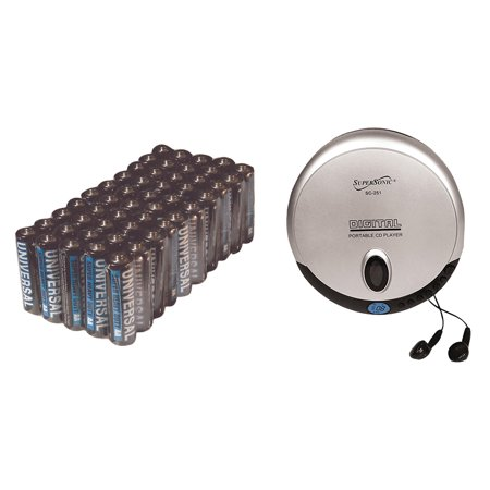 Supersonic SC-251 Personal CD Player & UPG AA 50 PACK
