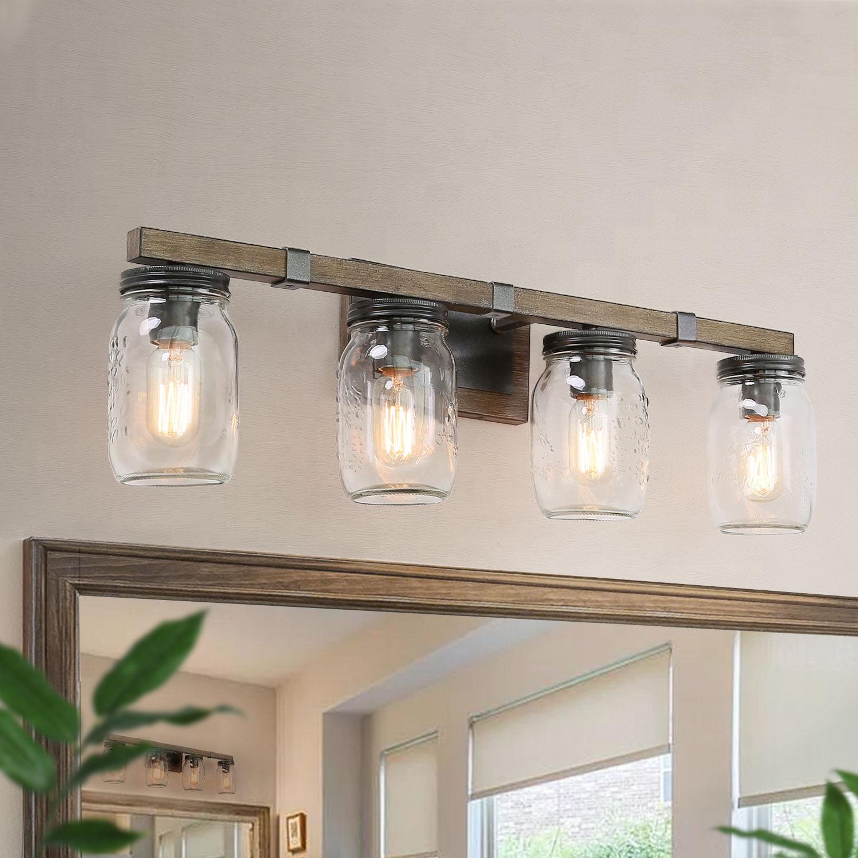 Lnc Vanity Lights Farmhouse Bathroom Lighting Wall Lamp With Mason Jar Walmart Com Walmart Com