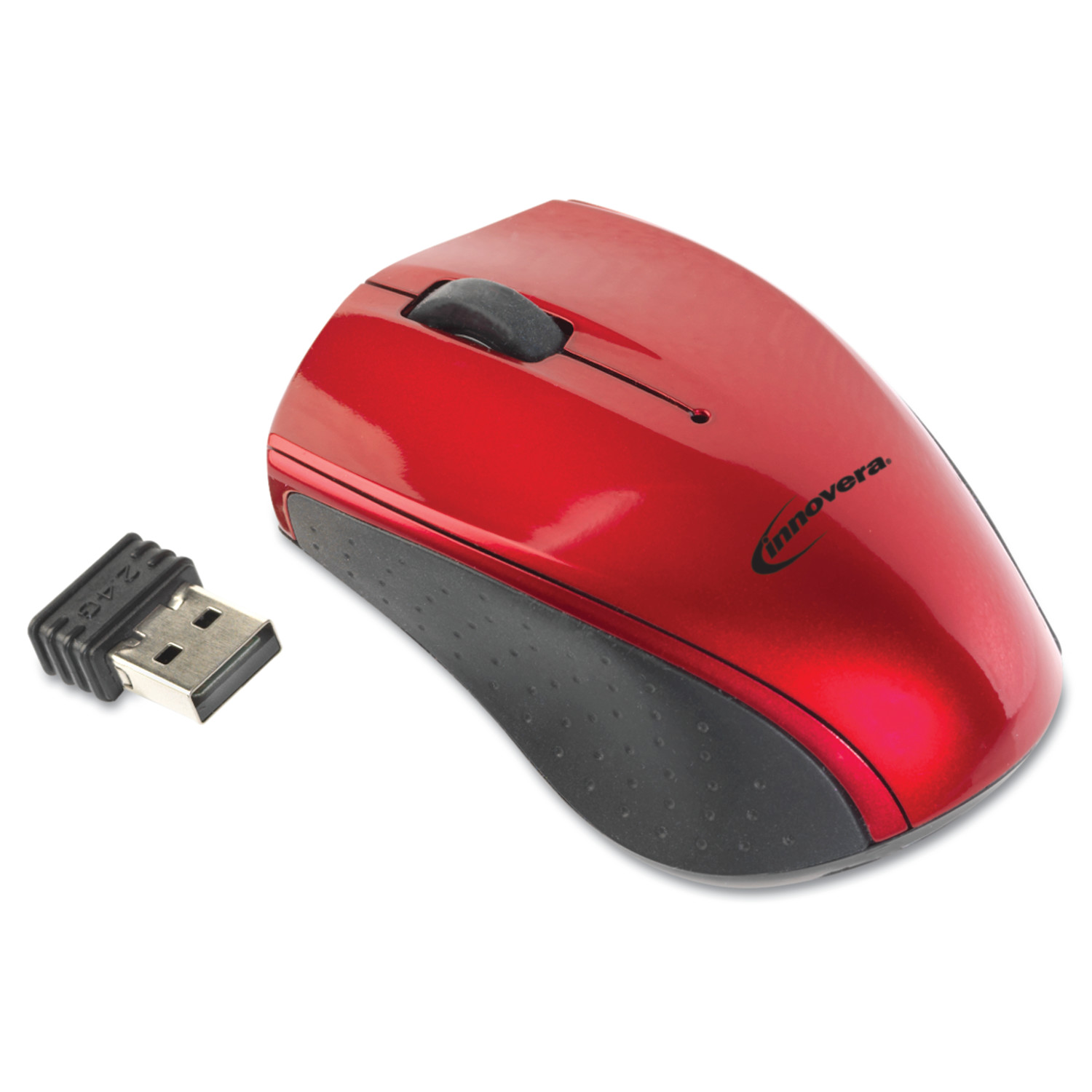 Innovera Mini Wireless Optical Mouse, 3 Buttons, Red/Black