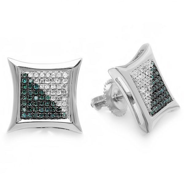 0.38 Carat (ctw) White & Blue Round Diamond Micro Pave Setting Kite Shape Stud Earrings