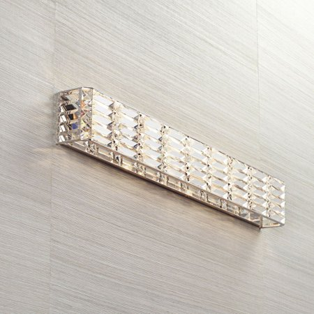 Possini Euro Design Modern Wall Light Chrome Cut Crystal 35 Quot Vanity Fixture Bathroom Over Mirror