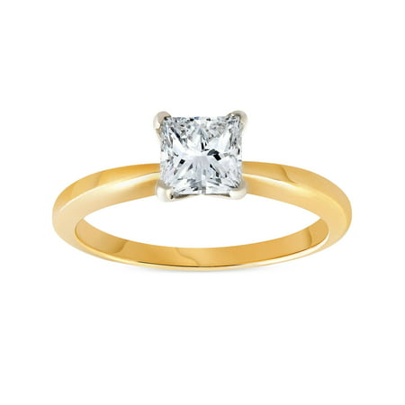 G/SI 1ct Princess Cut Diamond Solitaire 14k Yellow Gold Engagement Ring