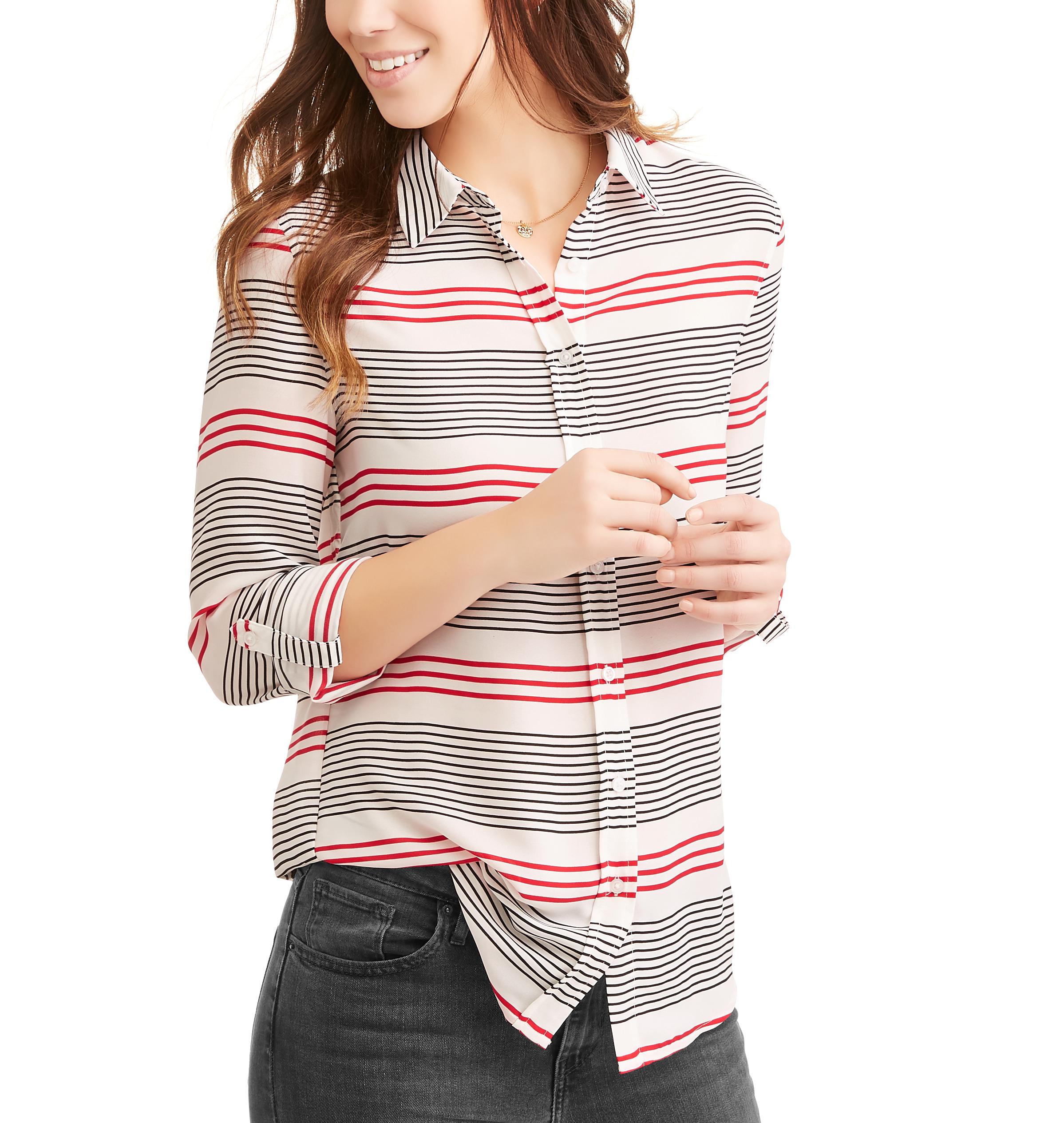 Como Black Women S Striped Button Up Shirt Walmart Com