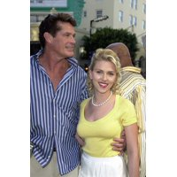 David Hasselhoff And Scarlett Johansson At The Premiere Of The Spongebob Squarepants Movie Los Angeles Ca November 14 2004 Celebrity