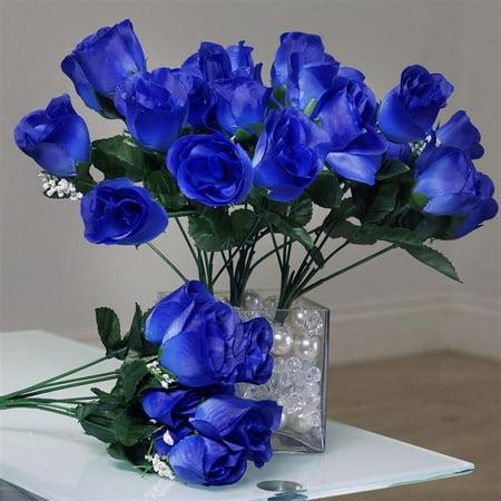84 Artificial Silk Rose Buds Wedding Flower Bouquet Centerpiece Decor Royal Blue - Art Deco Centerpieces