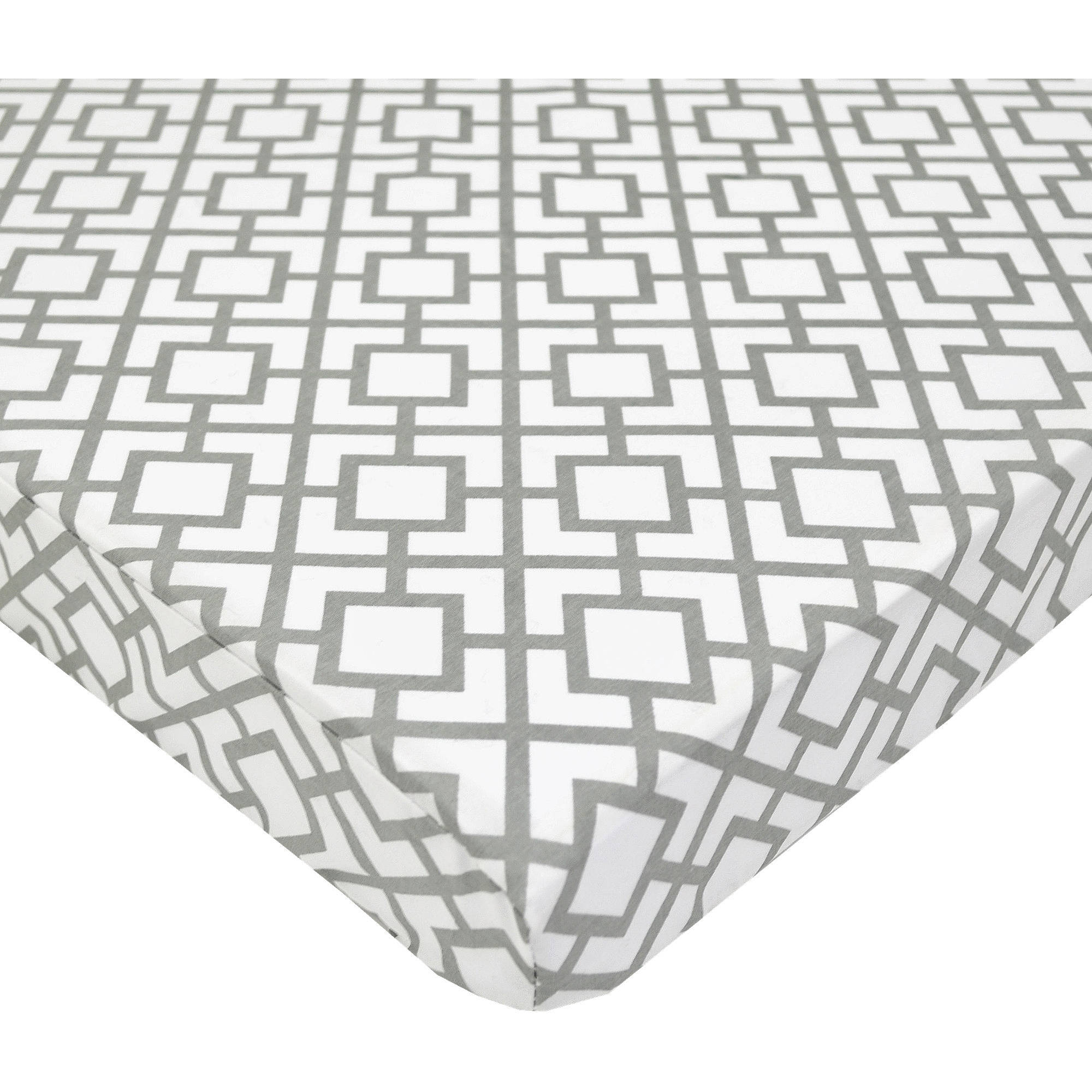 TL Care Cotton Percale Fitted Mini Crib Sheet, Grey Lattice