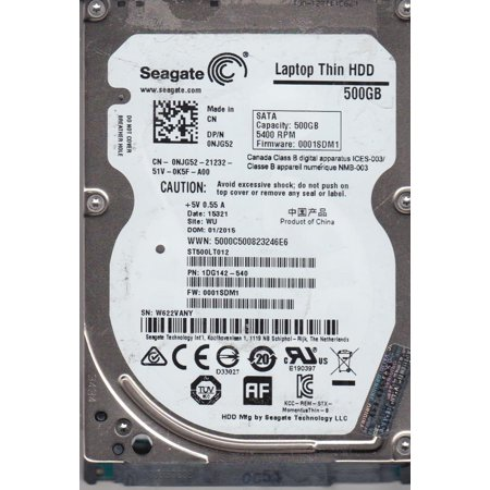 ST500LT012, W62, WU, PN 1DG142-540, FW 0001SDM1, Seagate 500GB SATA 2.5 Hard Drive