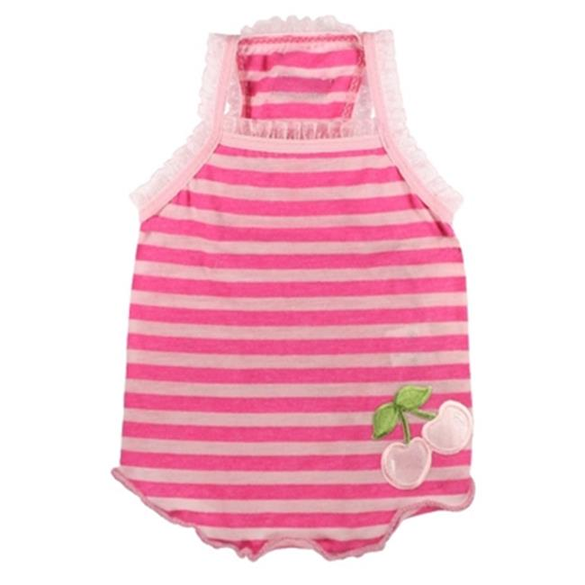 Hip Doggie HD-1PCT-XL Extra Large Stripe Cherry Tank - Pink