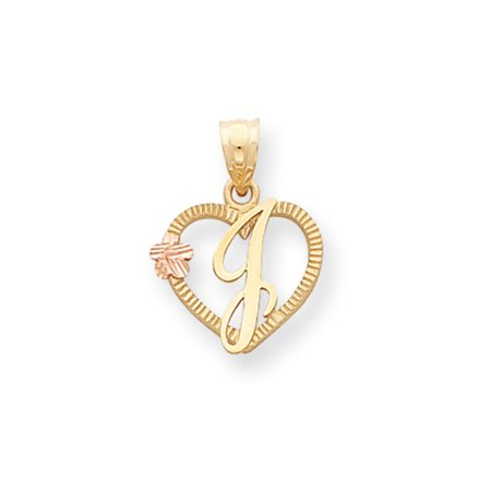 14K Two Tone Gold Talia Collection 15Mm Script Initial J Heart Pendant