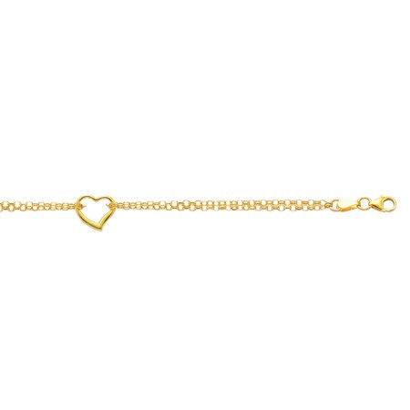 14K Yellow Gold Shiny Double Strand Cable Chain Anklet 10
