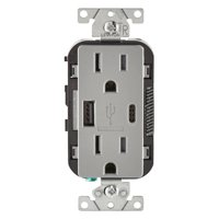 Leviton T5633-GY Decora Receptacle & USB Charger, 15 Amp, 125 Volts