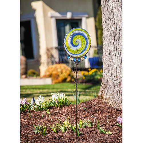 Evergreen Enterprises, Inc Artful Garden Hand Blown Spring Days Swirls Glass Decorative Gemmed Garden Stake