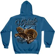 Wicked Fish Fightin Fluke Hooded Sweatshirt by , Indigo Blue, 3XL