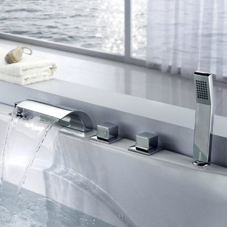 - Sumerain International Group Triple Handle Deck Mount Waterfall Tub Faucet with Handshower