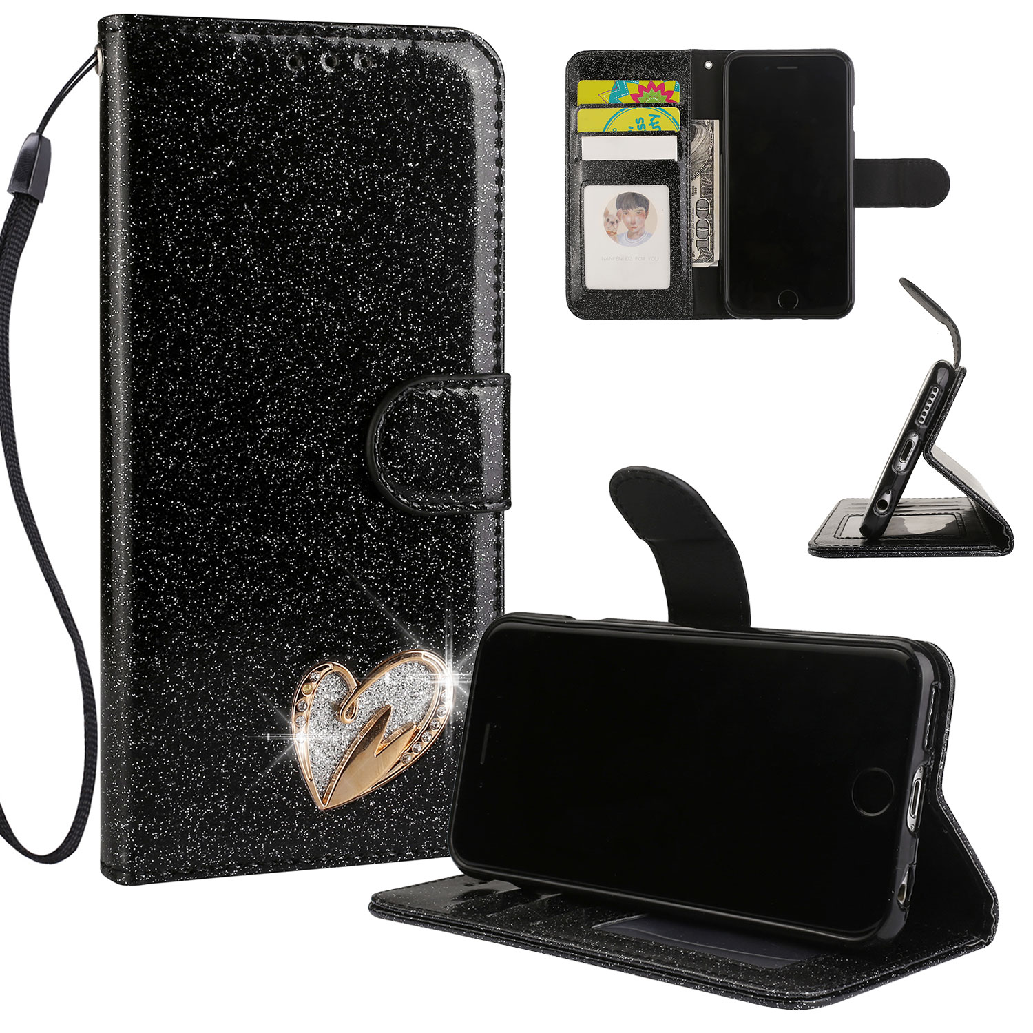 iPhone 6S Case Wallet, iPhone 6 Case, Allytech Glitter Folio Kickstand with Wristlet Lanyard Shiny Sparkle Luxury Bling Card Slots Slim Cover for Apple iPhone 6 6S (Black)
