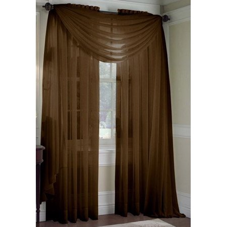 LuxuryDiscounts Beautiful Elegant Solid Chocolate Brown Sheer Scarf Valance Topper 37