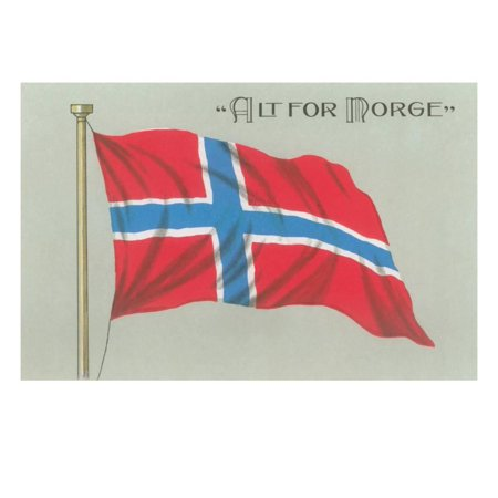Alt for Norge, Norwegian Flag Print Wall (Norwegian Fox)