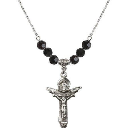 - 18-Inch Rhodium Plated Necklace with 6mm Jet Birth Month Stone Beads and Trinity Crucifix Charm