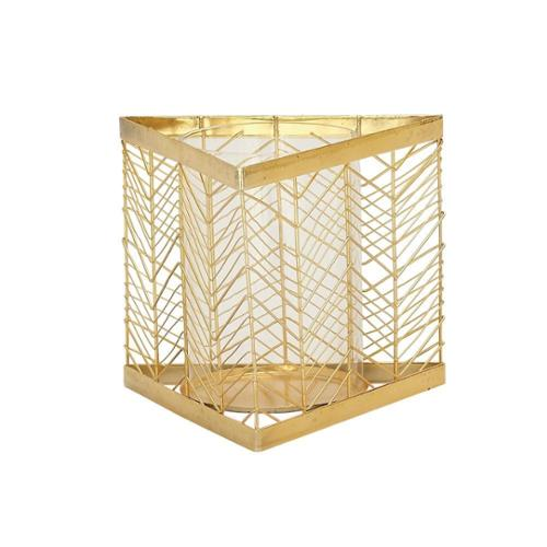 Studio 350 Classy Metal Glass Gold Candle Holder