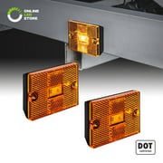 """2pc Amber LED Side Marker Light [DOT Certified] [IP67 Waterproof] [ Integrated Reflector] For Utility Boat Trailers Over 80"""" Camper RV Clearance Light"""