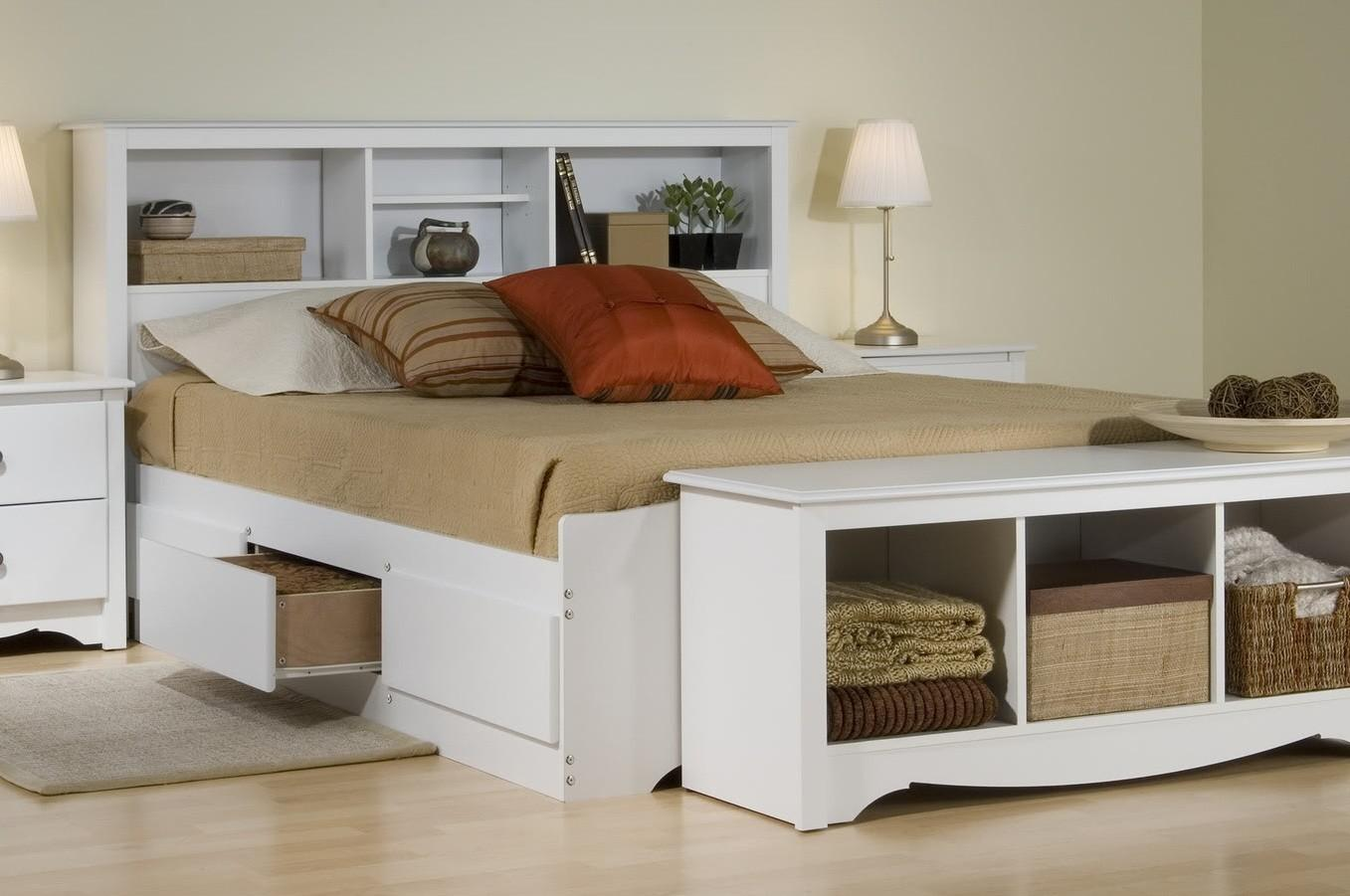 Platform Storage Bed W Bookcase Headboard Bed Size Full Color White Walmart Com