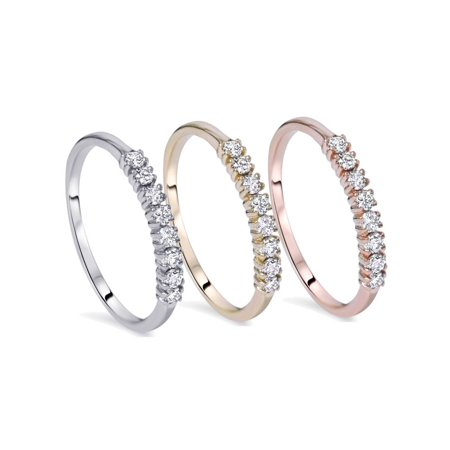 Half Eternity Wedding Ring Band 1/5Ct Diamond In White Yellow Or Rose Gold