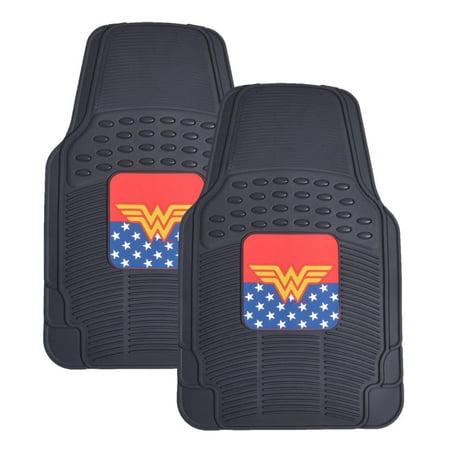 2 Piece Front Floor Mats - BDK Wonder Woman Rubber Car Floor Mats - 2 Pieces Front Floor Protection, Trimmable