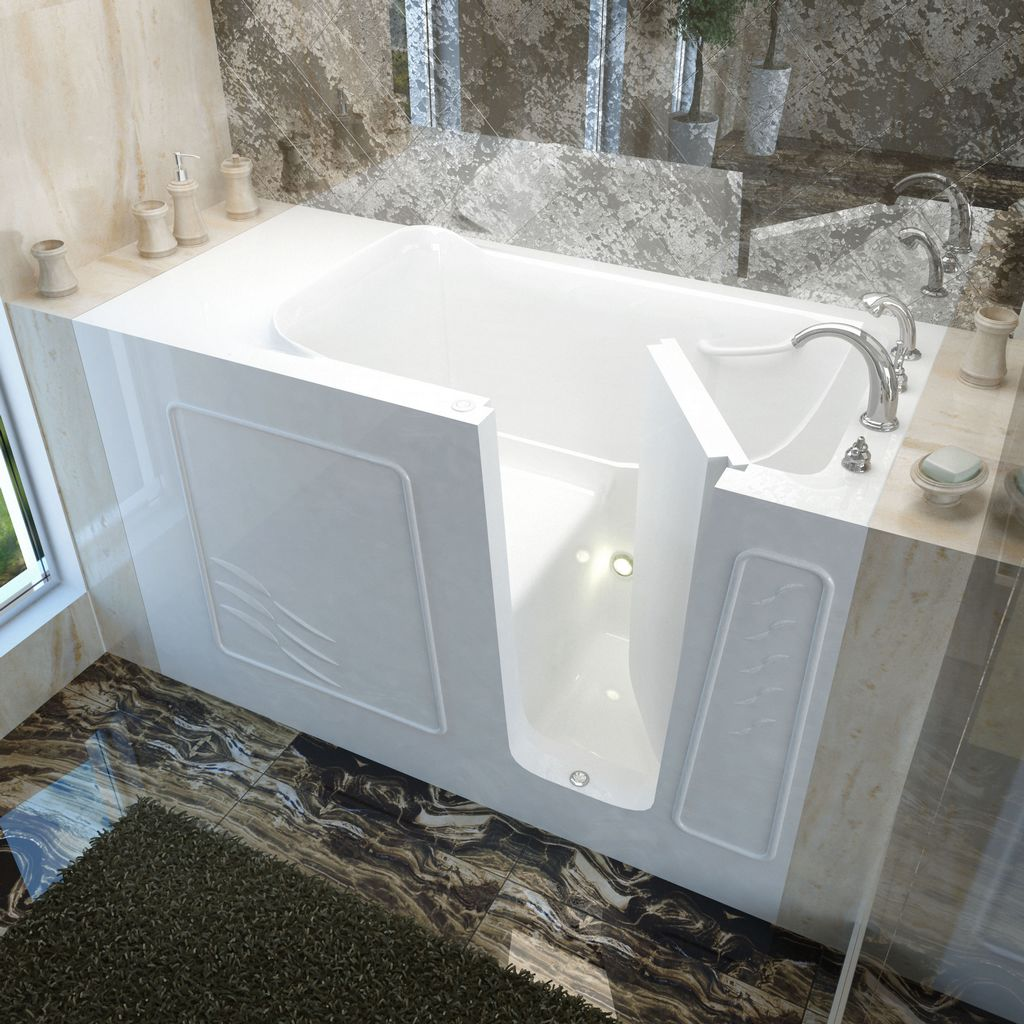 Meditub 30x60 Right Drain White Soaking Walk-In Bathtub