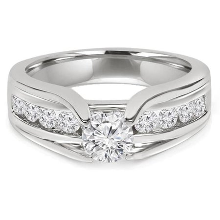 1.375 CTW Round Diamond Solitaire with Accents Engagement Ring in 14K White Gold Channel set Accents - Size 3.75 - image 1 of 1