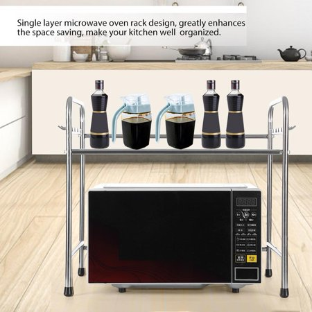 Ejoyous Stainless Steel Microwave Oven Rack Single Bracket Kitchen Counter Cabinet Shelf Organizer Microwave Oven Rack Kitchen Counter Microwave